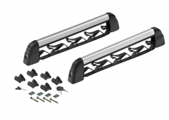 Ski and snowboard rack for roof bars