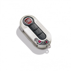 Silver and black & red circle design key cover for Fiat