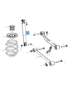 Rear shock absorber for Jeep Wrangler