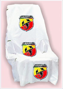 Seat covers with Abarth logo