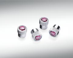 Tyre valve stem caps with Fiat logo