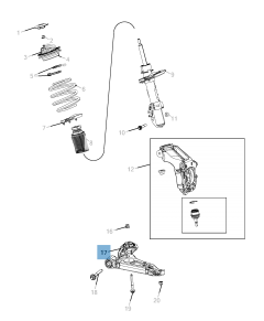 Control arm for front lower suspension for Jeep Cherokee