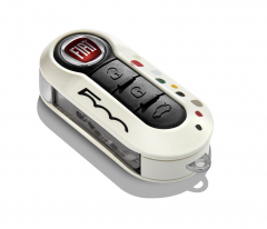 Car key cover white with coloured dots for Fiat 500