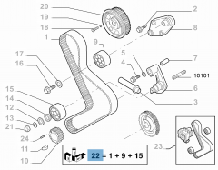 Distribution kit (belt, fixed and adjustable tensioner) - 3 pieces for Fiat Professional Ducato