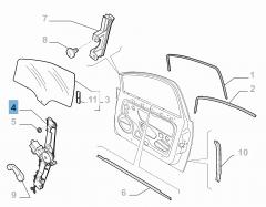 Front left window regulator, electric for Fiat Linea