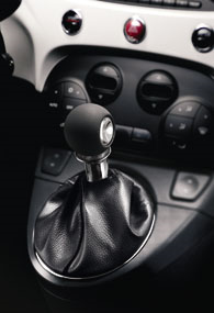 Black leather gear knob