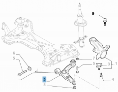 Left control arm for front suspension for Fiat and Fiat Professional