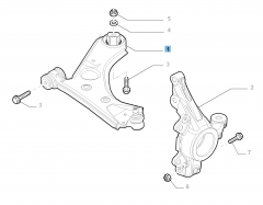 Right control arm for front suspension for Fiat and Fiat Professional