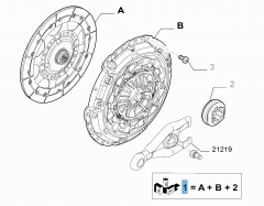 Clutch kit (clutch disc, pressure plate and release bearing) for Fiat Professional Scudo