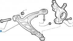 Left control arm for front suspension
