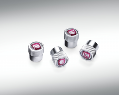 Tyre valve stem caps with Fiat logo