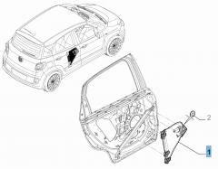 Rear left window regulator, electric for Fiat 500L