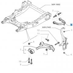 Left control arm for front upper suspension for Alfa Romeo 159