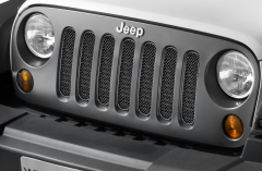 Satin black front grille for Jeep