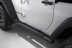 Black running boards side sills under the door for Jeep Wrangler